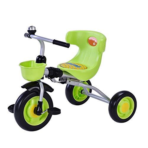 Triciclo for niños 1-6 años de Edad, Silla de Paseo en Bicicleta Ligera y una Cesta de 34x75x50cm Cochecito Rueda de vacío Plegable (Color : Green)