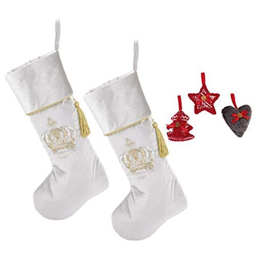 Calza di Natale set + free Gift–2argento Opulent Royal stile vittoriano in velluto calze con corona design decadente–rifinito a mano in UK e scelta di free Gift–ideale regalo precoce