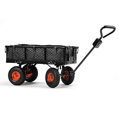 VonHaus — Chariot remorque de jardin — Capacité de 350 kg — Haute résistance — Roues tout-terrain pivotantes — Panneaux latéraux rabattables et amovibles