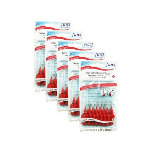 TePe – Cepillo interdental 0.5 mm Tamaño 2 Original – Pack de 5, total 40