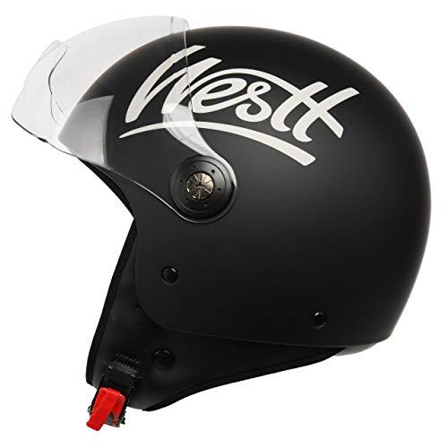 Westt Classic Jethelm Motorradhelm Helm - Vintage Stil - Matt Schwarz - ECE Zertifiziert