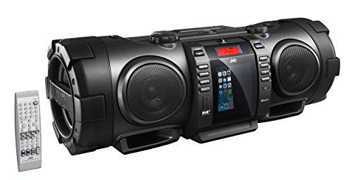 JVC BoomBlaster RV-NB100BE tragbare CD-System (FM/DAB+ Tuner, CD-R/RW, 40 Watt, USB) mit geschlossenem Apple iPod-Dock schwarz