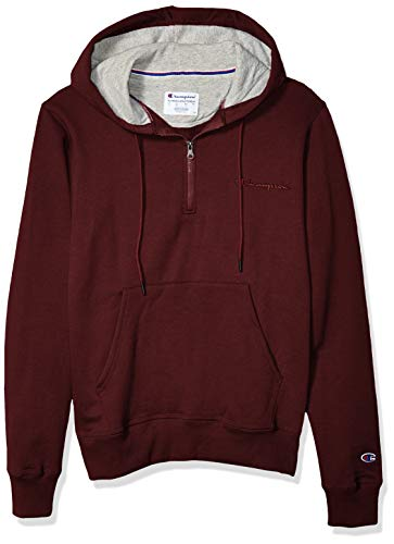 Champion Men's Powerblend 1/4 Zip Hoodie, Maroon, Small