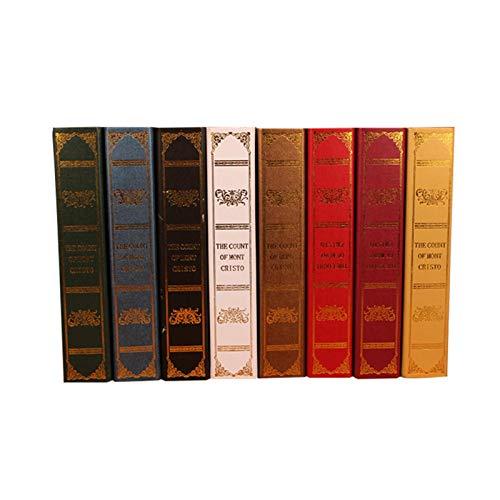 Appoo Libro de libros seguros en estilo antiguo de madera papel de libro de cuero sintético para libros en estilo antiguo de madera accesorios decoración de libros café fotografía caja justifiable