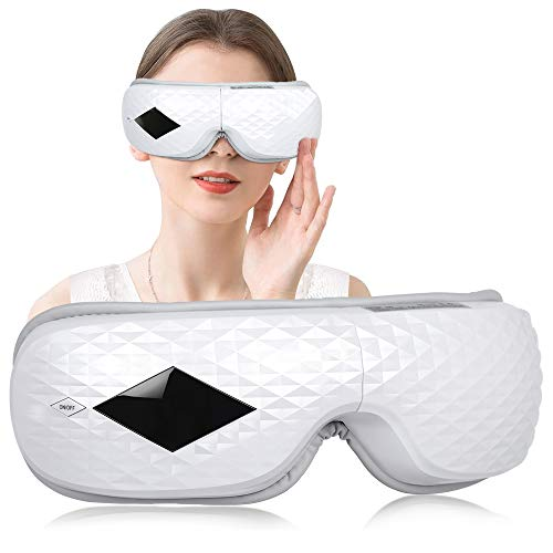 Eye Therapy Massager,Eye Massager 3D Electric Eye Temple Massager with Heat Air Pressure Music Vibration Compression Therapy Wireless Foldable Rechargeable for Dry Eye Massage Relax Stress Fatigue