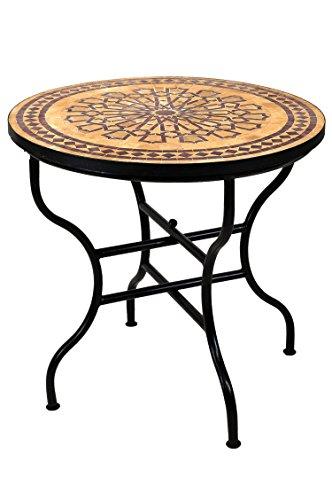 ORIGINAL Marokkanischer Mosaiktisch Gartentisch ø 80cm Groß rund klappbar | Runder klappbarer Mosaik Esstisch Mediterran | als Klapptisch für Balkon oder Garten | Alcazar Beige Bordeaux 80cm