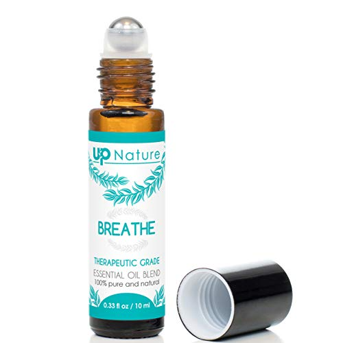 Breathe Essential Oil Roll-On - Peppermint & Eucalyptus Oil Blend - Breathe Easier - Allergy & Sinus Relief Roller - Quality Leak-Proof Rollerball - No Diffuser Needed!