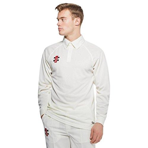 Gray Nicolls Matrix Long Sleeve Senior Cricket Shirt, White, M