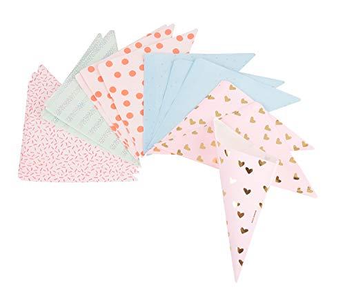 Rico Design Spitztüten 15 Stück in Pastell Hot Foil - Candytüten lebensmittelecht 170 x 170 mm