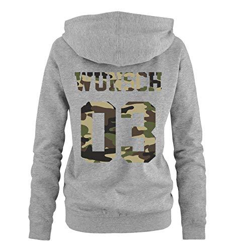Comedy Shirts - Wunsch - Damen Hoodie - Grau/Camouflage I - Gr. L
