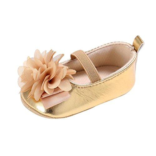 Voberry Newborn Baby Girls Soft Sole Crib Shoes Non-Slip Flower Toddler Shoes (1, Gold)
