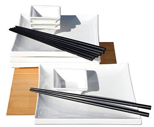 Service à sushi carré en céramique blanc pour 4 personnes
