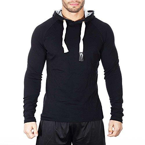 SMILODOX Slim Fit Kapuzenpullover Herren | Hoodie für Sport Fitness Gym Training & Freizeit | Sportpullover - Sweatshirt - Kapuzenpulli - Pulli - Hoody, Farbe:Schwarz, Größe:S