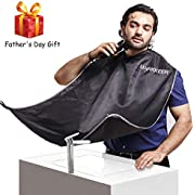 MARKKEER Beard Shaving Apron for Men Shaving,Hair Clippings Catcher & Grooming Cape Apron Trimming Non-Stick Hair,Waterproof,Anti-static Father's Day Gift(Black)