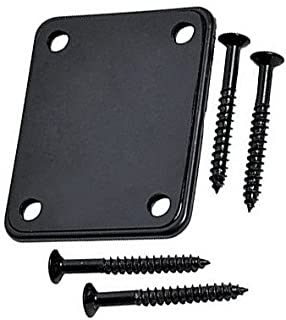 YMC 1 Set Electric Guitar Neck Plate with Screws for Strat Tele Guitar Precision,Jazz Bass Replacement, Black