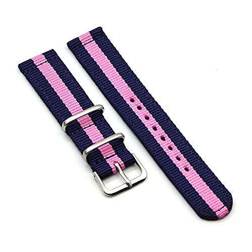 HANRUO Correa de reloj de nailon de 20 mm, correa de reloj de 22 mm, correa de 18 mm, correa de color sólido (color de la correa: azul tibetano, rosa, ancho de la correa: 18 mm)