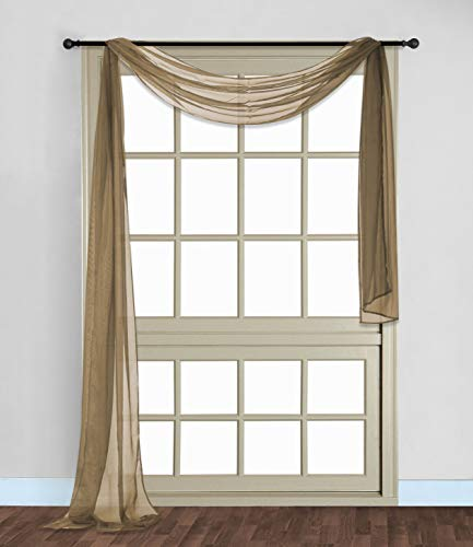 """Gorgeous HomeDIFFERENT Solid Colors and ALSOANIMAL Print 1PC Scarf Valance Soft Sheer Voile Window Topper Swag Panel Curtain 216"""" Long (Taupe TAN)"""