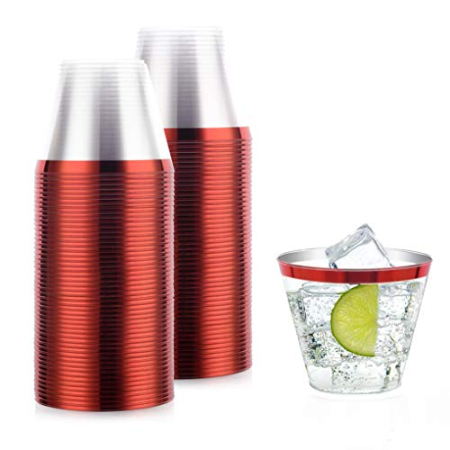 100 pack Elegant Red Gold rimmed clear plastic disposable cups ~ Fancy party glasses, wedding cocktail cup ~ 9 Oz. golden red Old Fashioned Tumblers ~ wine and champagne welcome