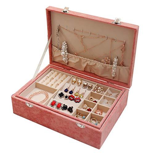 DIWA Joyero organizador de 2 capas para joyas, caja de almacenamiento para joyas, soporte para pendientes, anillos, collares, pulseras y joyas (color: rosa)