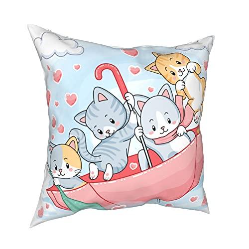 Kissenbezug Kissenbezüge 45x45CM süße Pastell Kätzchen Segeln in einem Regenschirm Dekoration für Home Decor Office Sofa Holiday Bar Kaffee Hochzeit Auto