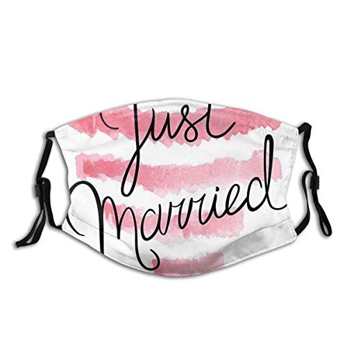 Comfortable Activated Carbon mask,Illustration Of Just Married Text Lettering With A Striped Heart,Printed Facial decorations for adult