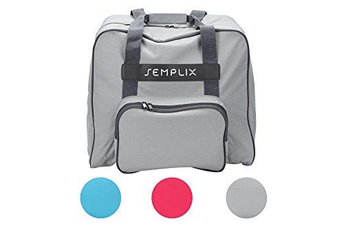 SEMPLIX Overlocktasche/Coverlocktasche 44x38x33cm, Groß, Stabil, für Transport/Aufbewahrung Aller gängiger Maschinen, (hellgrau)