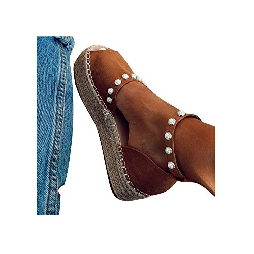 Damen Espadrilles Sandalen mit Leoparden Print, Plateausohle Strandsandalen Schnalle Sommer Bequeme Elegante Sandaletten Celucke (Braun, EU36)