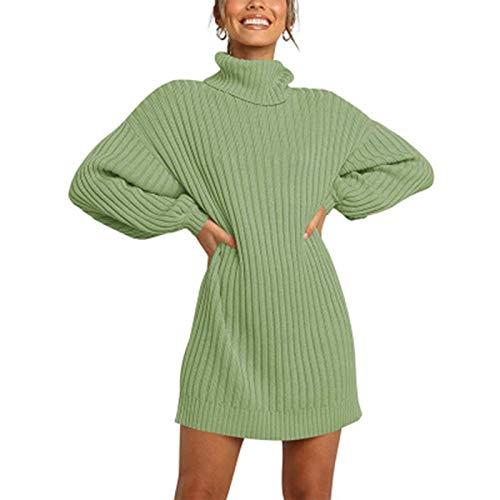 SLYZ Otoño E Invierno Mujer Cuello Alto Suéter De Punto Medio Suéter Vestido Suelto Salvaje Vestido