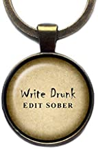 Ernest Hemingway Write Drunk Edit Sober Bronze Keychain Keyring
