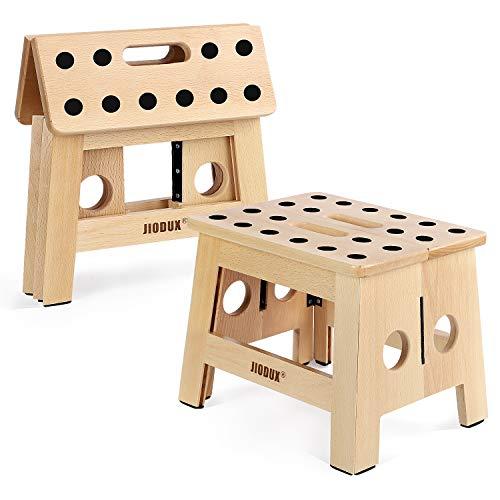 Jiodux hölzern Tritthocker Gen 2, Tritthocker für Kinder & Erwachsener klapparer Tritthocker Wohnzimmer Schlafzimmer Waschküche Garden|Originale Patentanmelden - Holz Hocker - 8.8