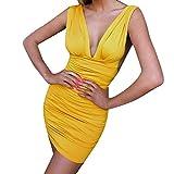 HULKY Vestidos de Fiesta Mujer Cortos Vestido Espalda Descubierta Vestido V Profunda Vestido Plisado Vestido Ajustado Vestido de Bodycon Vestido Cadera Club Nocturno Vestidos Casual Elegantes