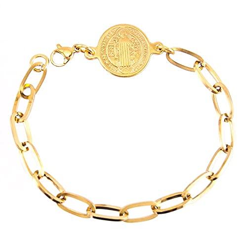 HMANE Pulsera de Medalla de San Benito de Acero Inoxidable para Mujer Moneda de San Benito de Metal de Color Dorado 20,5 CM