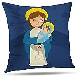 LisaArticles Funda De Almohada,Virgen María Y Niño Jesús Azul Bebé Hermoso...