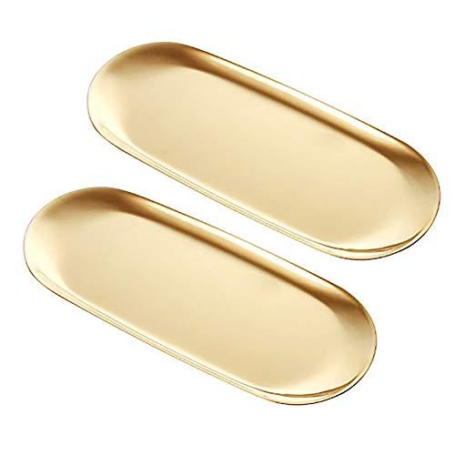 2Pcs Stainless Steel Towel Tray Dish Plate Storage Tray Tea Tray Fruit Trays Cosmetics Jewelry Organizer Oval  Gold
