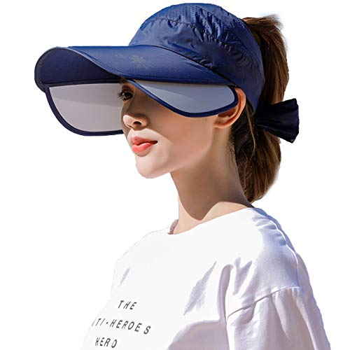 Peicees Wide Brim Visors for Women Sun Protection Hat for Beach/Fishing/Hiking/Gardening/Camping Deep Blue