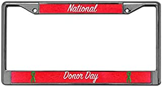 Kingchoo Car Licenses Plate Frame Rust Free License Plate Aluminum Frame Chrome Plated Metal National Donor Day License Plate Frame Tag with Standard Mounting Holes