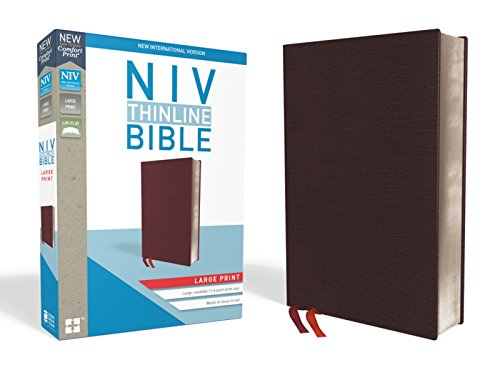 NIV, Thinline Bible, Large Print, Bonded Leather, Burgundy, Red Letter, Thumb Indexed, Comfort Print