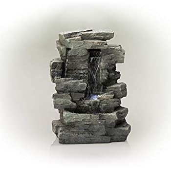 Alpine Corporation WIN220 Waterfall Tabletop Fountain w/White LED Light 13 Inch Tall Gray