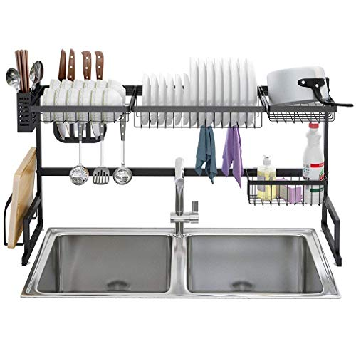 WYBW Soporte para flores Estante para secar platos sobre fregadero Estante escurridor de acero inoxidable, soporte de exhibición para utensilios de 2 niveles para organización de mostrador de cocina,