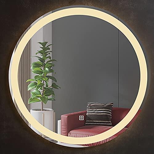 GETZ Espejo de Baño con Iluminación LED Regulable Espejo de Tocador, Botón Táctil + Antivaho + Tiempo/Temperatura (Luz Blanca/Cálida)