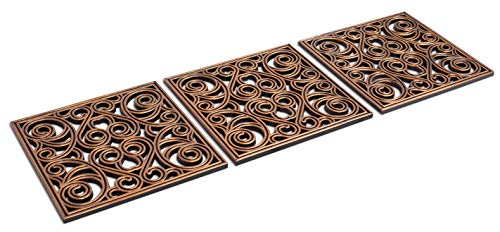 BIRDROCK HOME 12 x 12 Rubber Stepping Stones Tile - Copper - Set of 3 - Decorative Garden Mats - Sturdy Durable Steps - Perfect for Gardens Path, Flowerbed, Gravel, Dirt, Grass