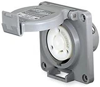 Hubbell Wiring Systems HBL2610SW Twist-Lock Watertight Safety Shroud Receptacle, 30 amp, 125VAC, 2-Pole, 3-Wire Grounding, L5-30R, Gray