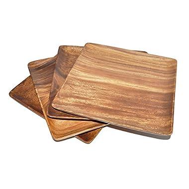 Pacific Merchants Acaciaware 7-Inch Acacia Wood Square Plate, set of 4