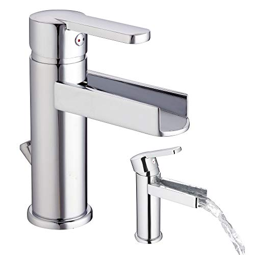 Einhebelmischer für Waschbecken Wasserfall Waschtisch-Armtur Chrom Wasserhahn Bad inkl. Ablaufgarnitur mit Zugstange mit Anschlussschläuchen und Befestigungsmaterial