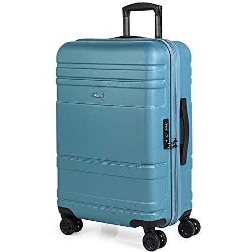 JASLEN - Maleta Trolley Mediana 66 cm ABS Texturizado. Rígida, Resistente y Ligera. Mango telescópico, 2 Asas y 4 Ruedas Dobles. Candado TSA. Muy Completa 73160, Color Azul