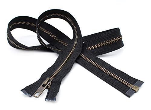 YKK- Jacket Zippers YKK #5 Antique Brass- Metal Teeth Separating for Crafter's Special Color Black #580 Made in USA -Custom Length (21 inches)
