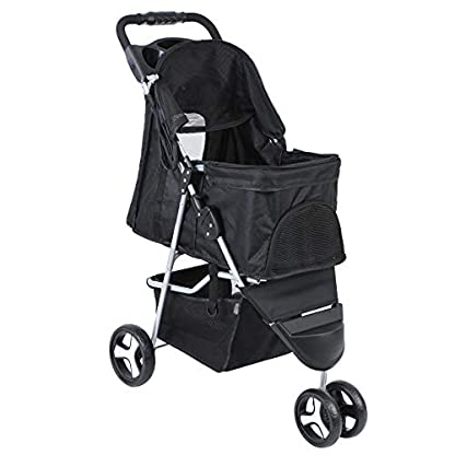 Yonntech Pet Travel Stroller Foldable Cat Dog Pushchair Trolley Puppy Jogger Buggy Dog Carrier Maximum Weight 15Kg with Cup Holders Storage Basket Three Wheels (Black) 5