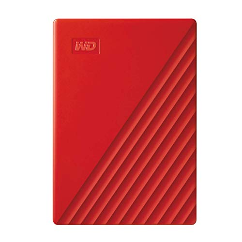 Western Digital WD My Passport externe Festplatte 4 TB (mobiler Speicher, schlankes Design, WD Discovery Software, automatische Backups, Passwortschutz) Rot - auch kompatibel mit PC, Xbox und PS4