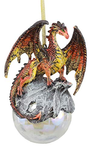 Ebros Gift Ruth Thompson Art Hyperion Dragon Perching On Glass Ball 5'High Ornament Figurine As Halloween or Christmas Tree or Home Decorative Hanging Sculpture For Fans of Dragons GOT Fantasy Legends