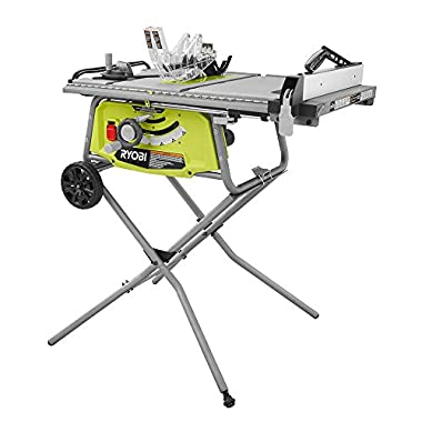 Ryobi 10 in. Portable Table Saw with Rolling Stand with a Powerful 15 Amp Motor and Onboard Storage, Ideal for Woodworking, Home Repair and Renovation Projects